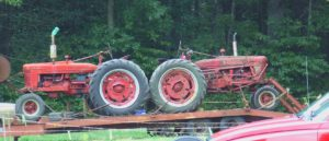 Antique Tractors arriving at show.