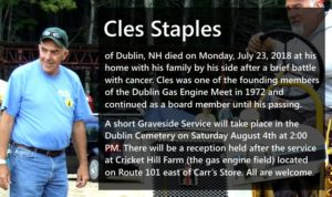 Cles Staples obituary and invite to celebration of his passing.