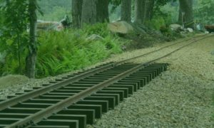 Newly built miniature railroad tracks